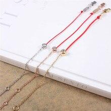 String Jewelry Bracelets Women Gold-color Stainless Steel Red Thread Line Brand Handmade Chain Zirconia Rose Gold Gift Bracelet