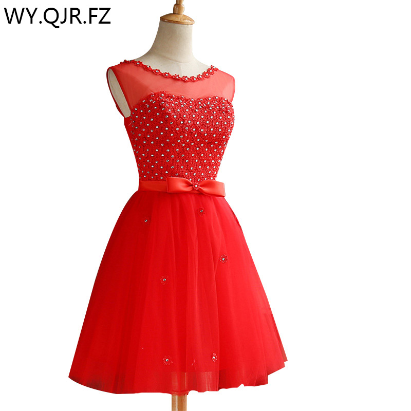 ZHHS-LP#Lace up paillette red short   bridesmaid     dresses   wholesale cheap wedding party prom   dress   2018 spring new champagne grey