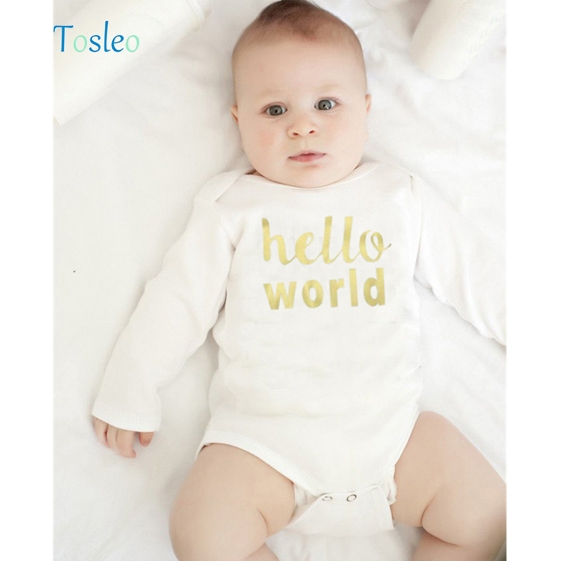 2018 Baby Clothes Summer White Cotton Children Clothes Toddler Costumes New Born Baby Bodysuit 3M-24M Funny Letter Printed