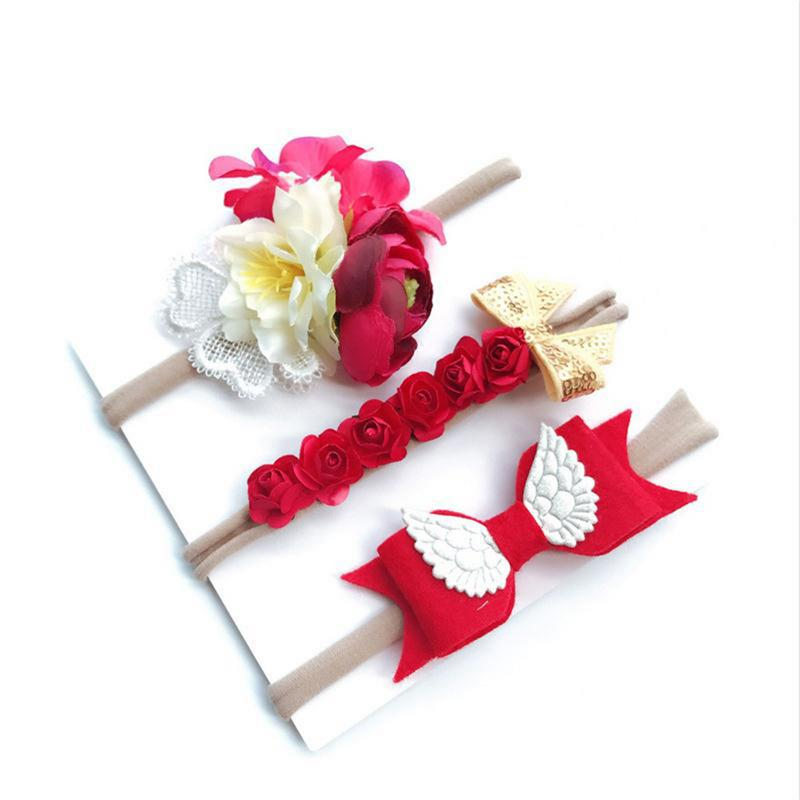 3 Pcs/set Baby Headdress Children Artificial Flower Headband Set Wings Felt Cloth Bohemian Baby Holiday Hair Accessories Bow Hea Fragrant (In) Flavor