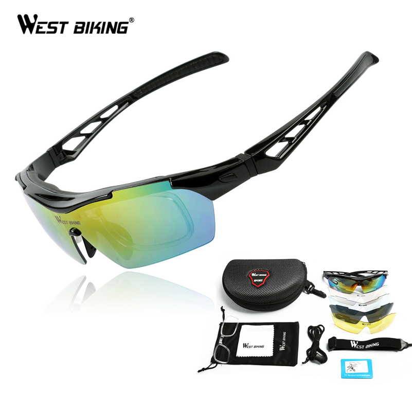 WEST BIKING Polarized Bicycle Glasses 5 Lens Cycling Sunglasses Myopia Frame Outdoor Sport Road Mountain Bike Cycling Glasses|Cycling Eyewear| |  - title=