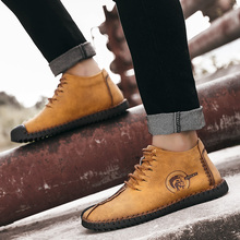 Купить с кэшбэком 2018 New Winter Brand Fashion Comfortable Men Shoes Laces Up Solid Leather Shoes for Men Causal Male Shoes Hot Sale Loafers