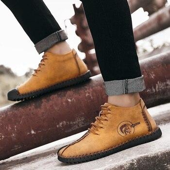 2018 Nova Marca de Moda Inverno Sapatos Confortáveis Homens Rendas Até Sapatos de Couro Sólidos para Homens Causal Sapatos Masculinos Venda Quente mocassins