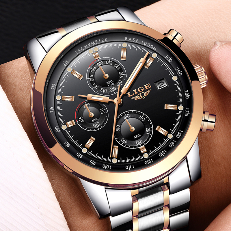 LIGE Men Watches Top Brand Fashion Waterproof Full Steel Business Watch Men Calendar Sport Quartz Wrist Watch Relojes Hombre+Box korg nanopad2 wh