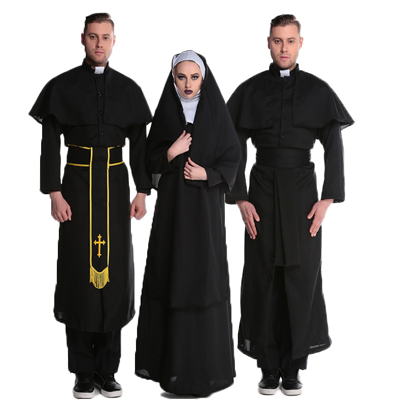 Monk Clothing Cosplay Cloak for The Virgin Mary Nun Priest Christianity Robe Vestidos Religion Anime Halloween Costume Adult