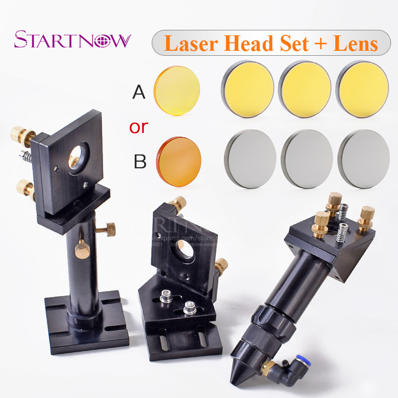 CO2 Laser Head Set CO2 Laser Mirror Mount Holder With Integrative Lens DIY CO2 Laser Kit For CNC Cutting Machine Spare Parts