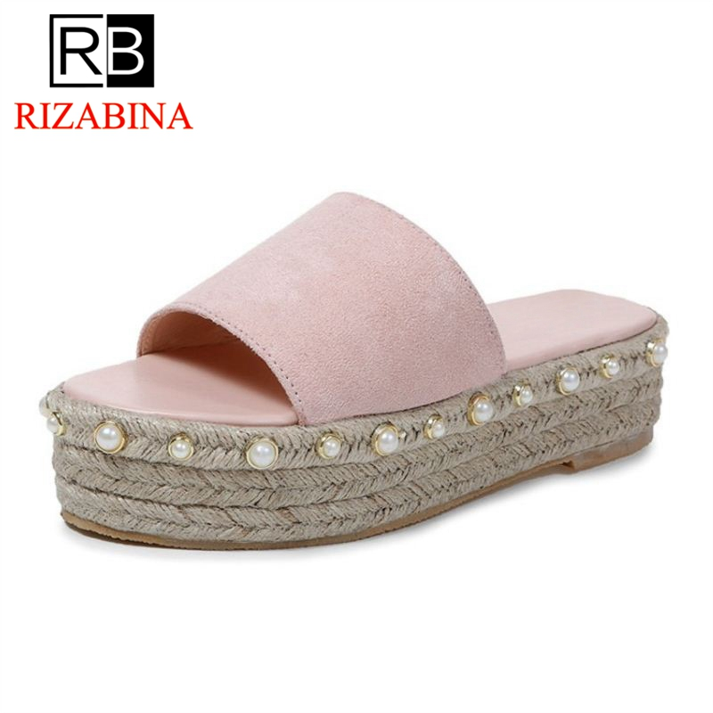 RizaBina Women Slippers Wedges Platform Open Toe String Beads Ladies Summer Shoes Sweet Shoes Holidays Footwear Size 35-39