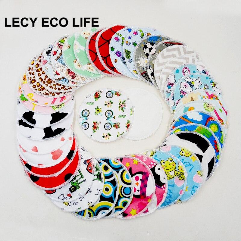 Lecy Eco Life 12PCS Organic Bamboo Breast Pad Nursing Pads For Mum, Waterproof Washable Feeding Pad Bamboo Reusable Breast Pads