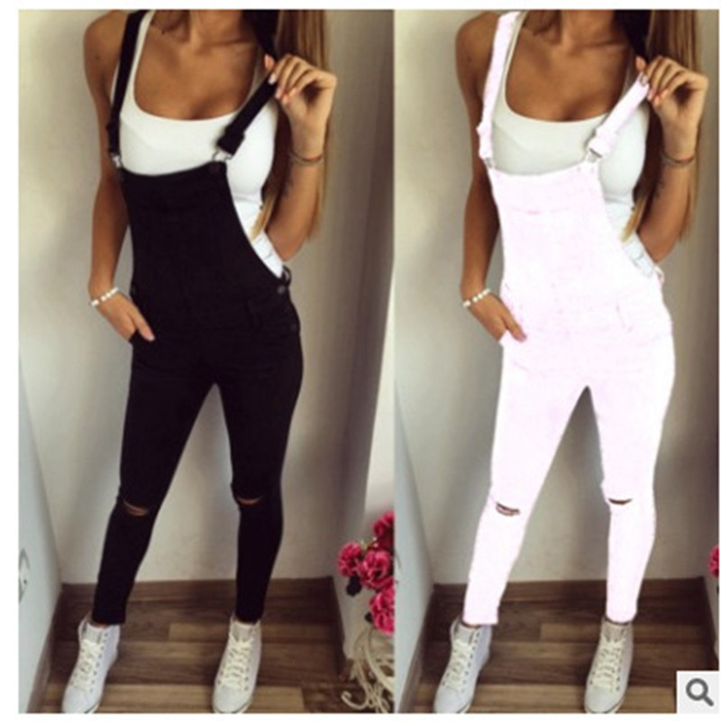 white Denim   Jumpsuit   summer Ladies Long Pants rompers women casual Overalls ripped jeans Strappy Off Shoulder boyfriend jeans