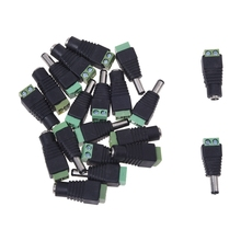 2 Packs 10 pair adapter connector Jack Male to female DC for CCTV 2.1×5.5mm