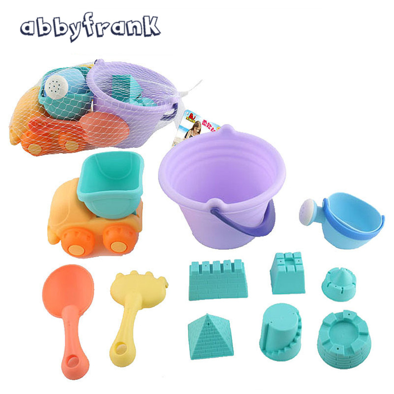 11 PCS Castle Sand Playing Tool Bucket Shovels Cars Beach Toy TPE Soft Material Watering Fun Learning Toy For Children Gifts