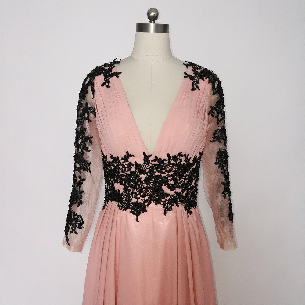 E JUE SHUNG Dammiga Rosa Svarta Spetsapplikationer Långa Klänningar - Särskilda tillfällen klänningar - Foto 4