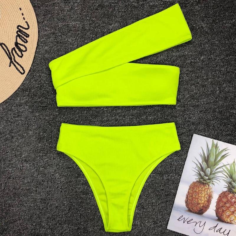 2019 Sexy Neon Green High Waist Bikini Women Ribbed Swimsuit One Shoulder Swimwear Female Bikini Set Brazilian Bathing Suit Swim