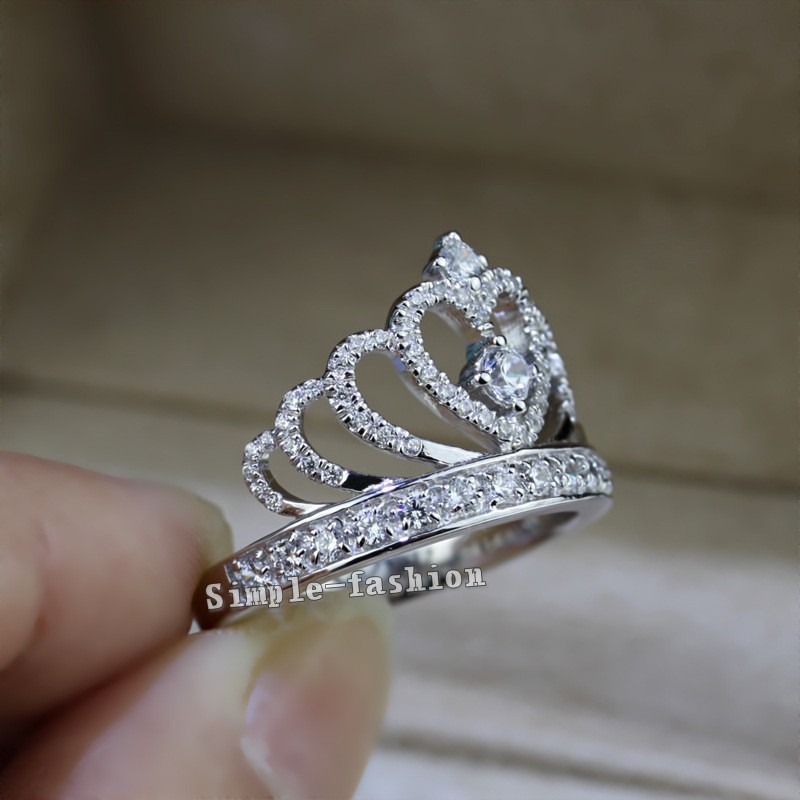 Women Crown ring Handmade 1.5ct AAAAA zircon cz 925 Sterling ...
