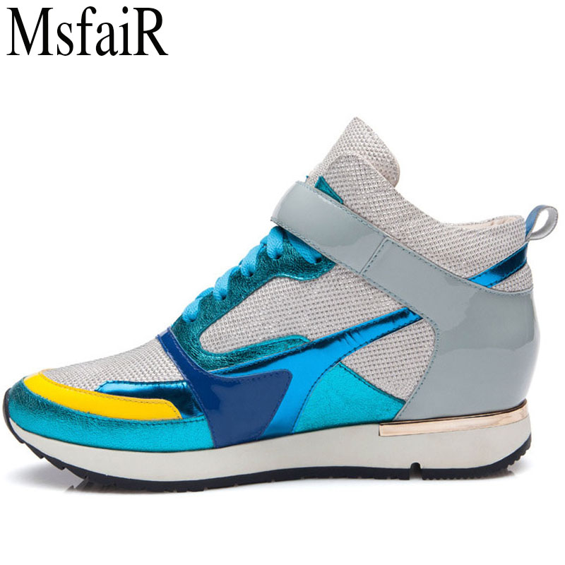 MSFSIR Fall2018 Womens Running Shoes Woman Brand Height Increasing Women Sport Shoes Outdoor Athletic Walking Female Sneakers oln woman brand outdoor athletic winter sport shoes for women comfortably women running shoes outdoor jogging womens sneakers