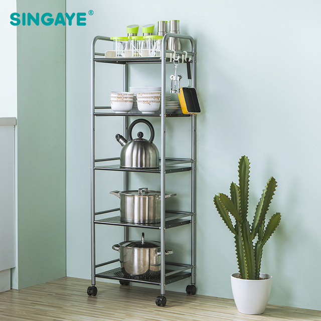 SINGAYE DIY Five Layers Removable Storage Rack Shelf With Wheels Bathroom/ Kitchen/Refrigerator Side