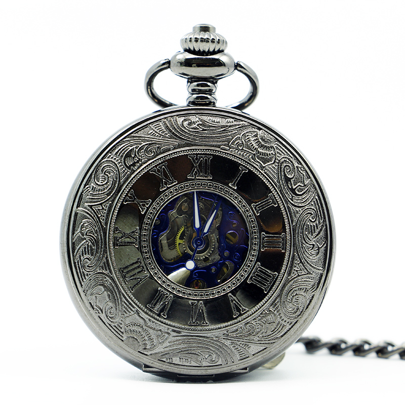 10pcs lot Black Rome Style Automatic Skeleton Mechanical Pocket Watch Hand winding Fob Watches Man Women