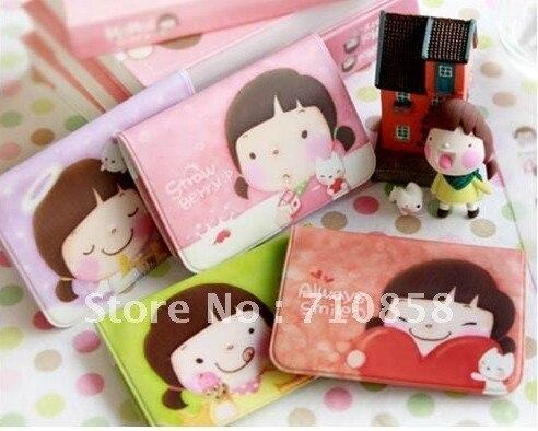 Free Shipping   new fashion cartoon biscuit girls business bank credit Card .holder bag case membership card bag 4 color choose.