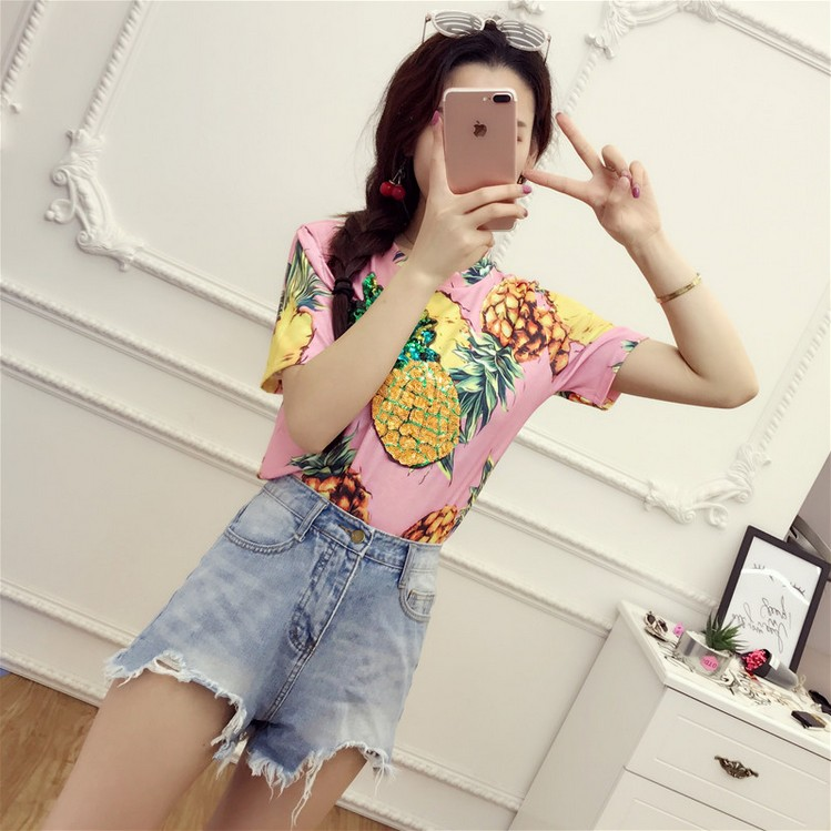 HTB1 4bUQVXXXXcqXpXXq6xXFXXXZ - Top Hot Sequined Print Pineapple Women t shirt Short Sleeve