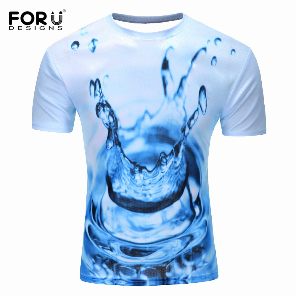 FORUDESIGNS Men 3D Water Drop Printing Short Sleeves T-Shirt Men's Animal Tiger Pattern Top Tee Shirt Casual <font><b>Frog</b></font> <font><b>Tshirt</b></font> Clothes image