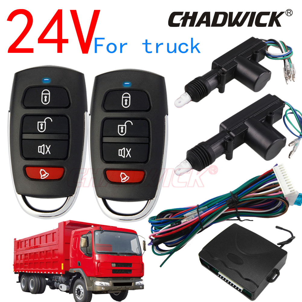 24V Central Door Lock Locking System Universal Auto Remote Control Vehicle Keyless Entry System For Truck 2 Door  CHADWICK 8101