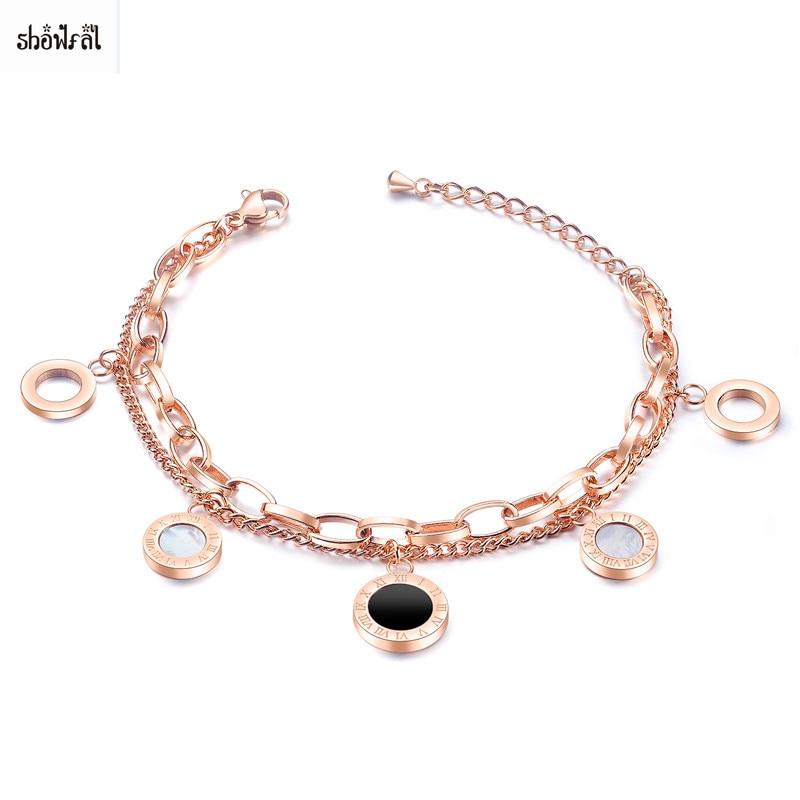 Римский номер браслет Femme Acier Inoxydable Ajustables нержавеющая сталь Римский номер браслет брендовые браслеты Мути-слой