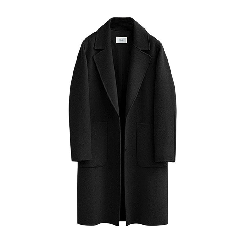 Winter Casual Vintage Plus Size Wool Long Trench Coat Women Elegant Black Office Ladies Outwear Fashion Pocket Autumn Overcoat in Trench from Women 39 s Clothing