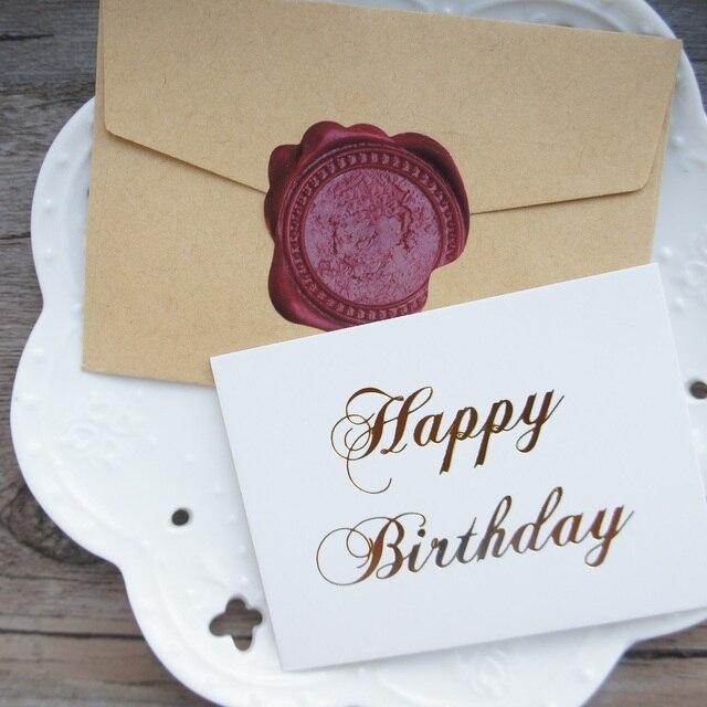 Multi Use 25pcs Mini Happy Birthday Card Gold With Kraft Envelope