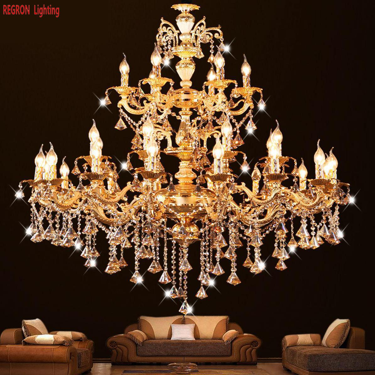 Regron Royal Gold Chandelier Large K9 Diamond Crystal Led Chandelier Luxury Hanging Lights For Foyer Church Villa Banquet Lounge