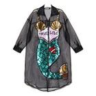 Save 16.47 on Mermaid mesh t shirt dress Womens long sleeve black sequin tshirt dress with zipper Korean Splicing Pleated Mesh shirt Dresses