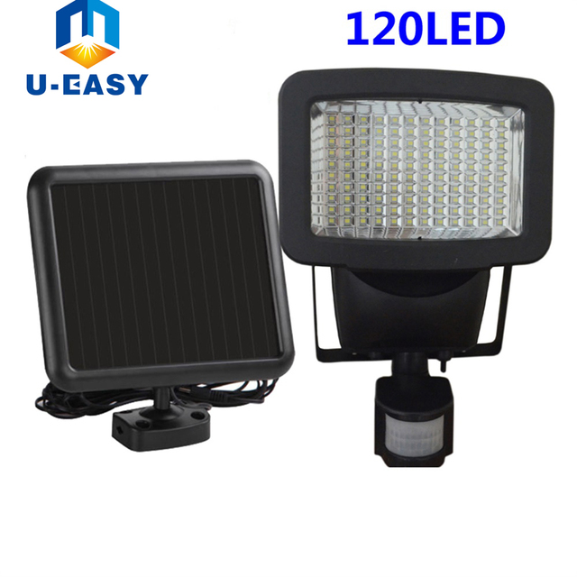 U-EASY 120 led Solar Light LED Flood Security Solar Garden Light with PIR Motion Sensor Wall Lamps Outdoor Emergency Spot Lamp