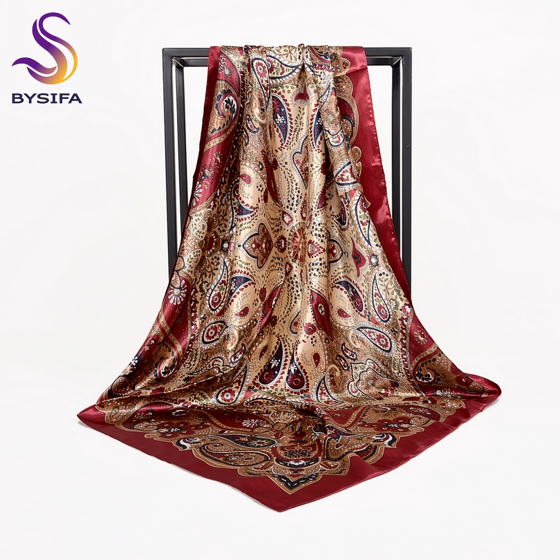 [BYSIFA] Autumn Winter Ladies Scarves New Accessories Women Large Silk Square Scarves New Wine Red Paisley Muslim Islamic Scarf