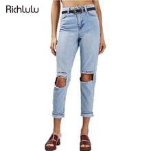 RichLuLu Blue Denim Pants Women Letter Embroidery Street Fashion Mid Waist Slim Ripped Jeans Female Skinny Trousers Casual Jeans