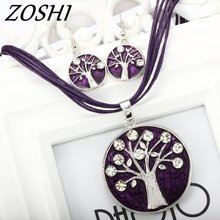 ZOSHI Summer Style Enamel Jewelry Sets Delicate Lucite Design Multi Colors Crystal Tree Pendant Choker Necklace Earrings Set