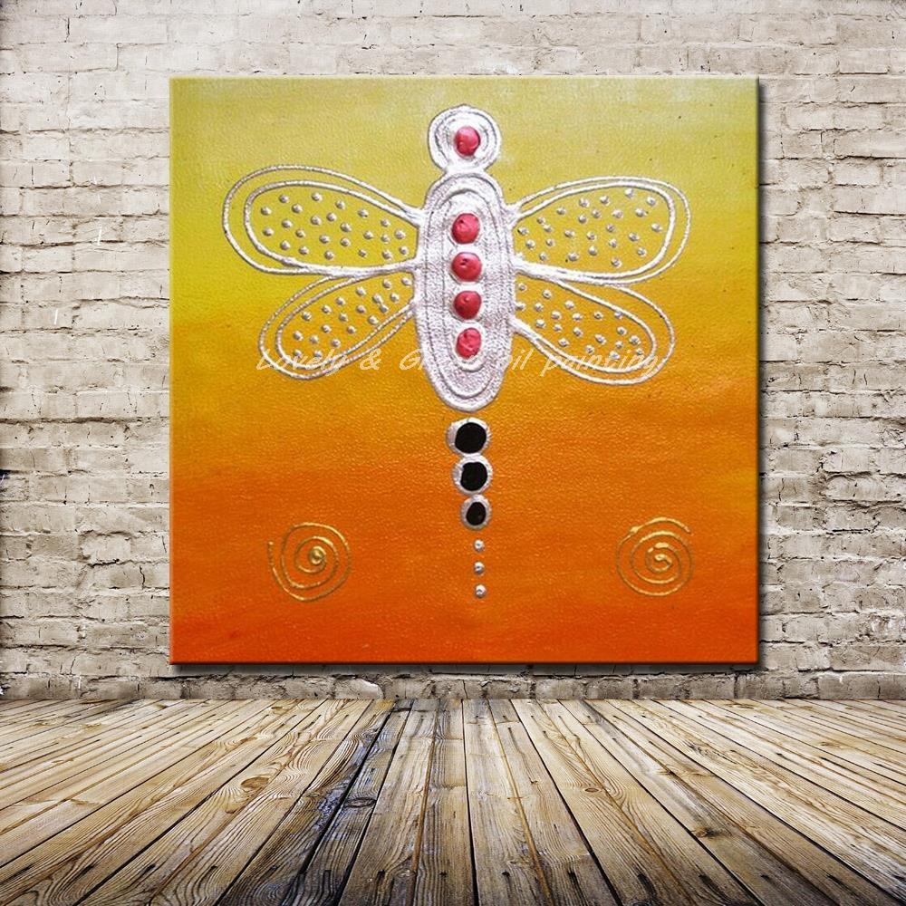 ᗛHandpaintied libélula animal pintura al óleo sobre lienzo Wall ...