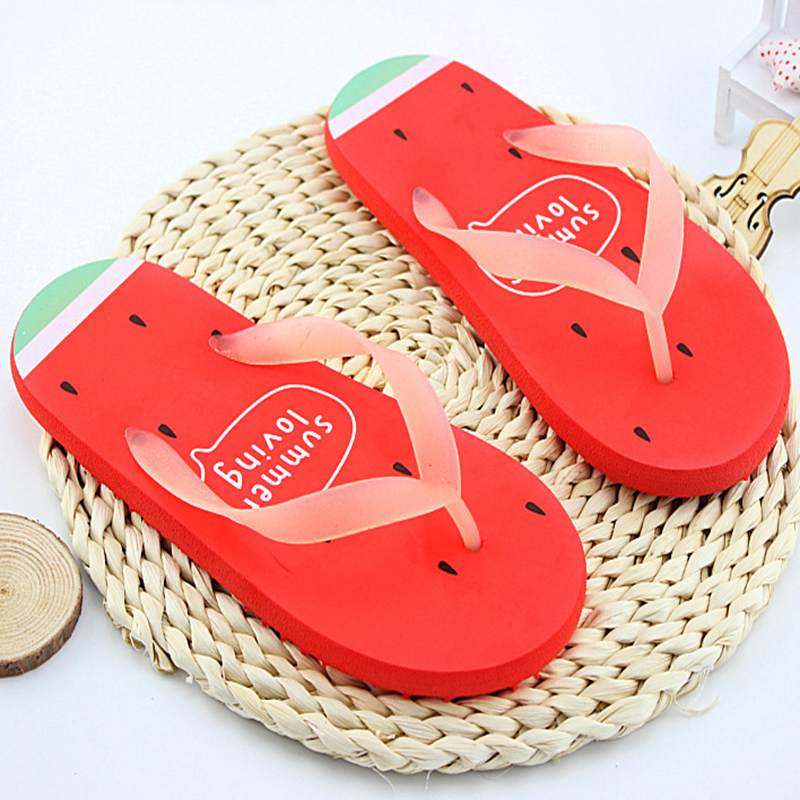 New 2017 Women's Summer Beach Flip Flops Fashion Cartoon Fruit Women Slippers Shoes for Women Flat Heel Casual Brand Shoes lpsecurity battery powered 12vdc 13 56 ic rfid reader electric gate door lock access control system kit with 10tags or tm tag
