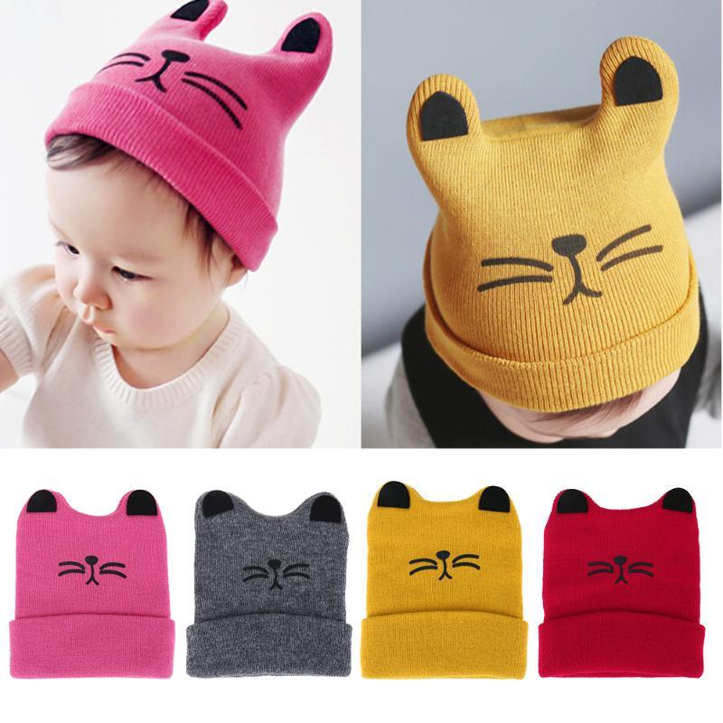 Fashion Warm font b Baby b font Hats Cute Cat Ear Newborn Knitted Hat Beanie Caps