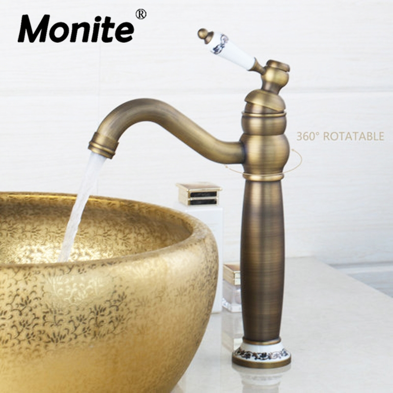 Antique Brass Bathroom Faucet Bathroom Basin Vessel Sink Mixer Faucet Tap Ceramic Single Handle Deck Mounted Basin Faucet ulgksd basin sink faucet deck mounted mixer tap antique brass single handle bathroom faucet