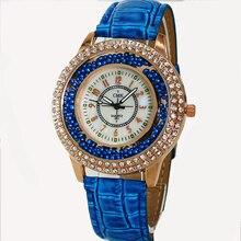 Горячая бренд большой циферблат Для женщин часы модные Стразы шарик смотреть Повседневное 5 видов цветов Повседневные часы кожаный ремешок на запястье Часы