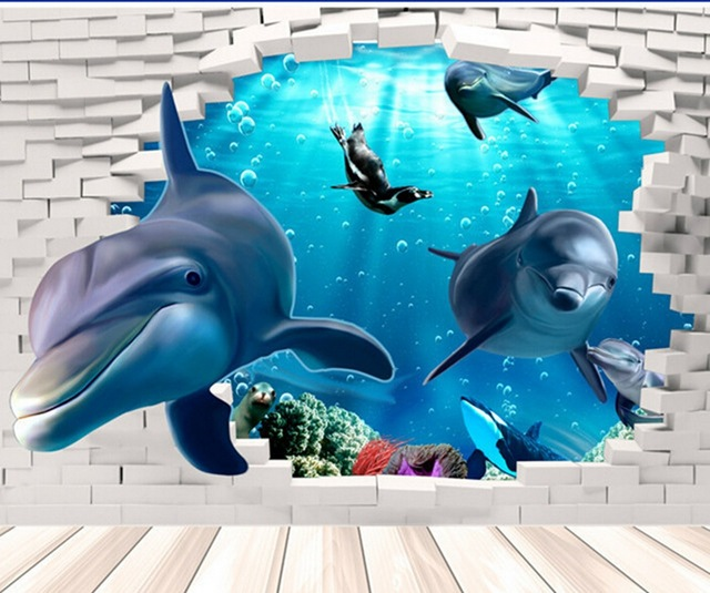 Superior Home Supplies Unique 3D Sitting Living Room Decorative Wall Stickers 3D  Dolphins Stickers Underwater World Home Stickers