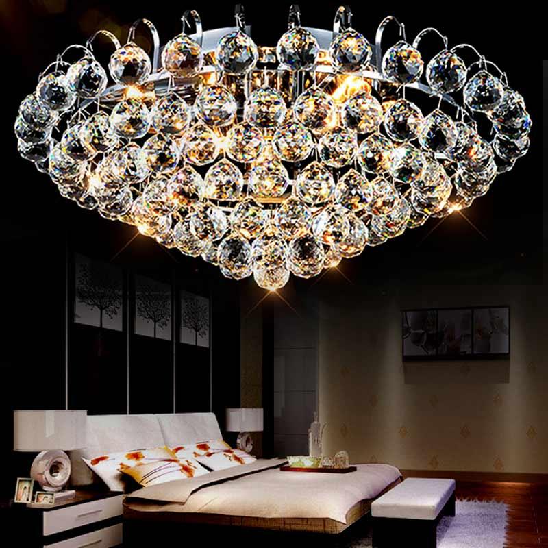 Роскошные современные хрустальный шар потолочный светильник гостиная спальня хром железа висит в помещении домашнего освещения блеск E14 110...