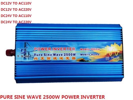 цена на Peak power 5000w inverter rated power 2500W DC12V/24V TO AC110V/220V 50HZ/60hz pure sine wave Power Inverter digital display