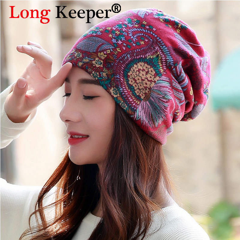 Long Keeper Brand Multi Purpose Women Winter Autumn Hats Scarf Ladies Thin   Skullies     Beanies   Vintage Face Mask Girls Gorros