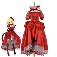 Fate Grand order Nero Claudius Caesar Augustus Germanicus Saber Red Rose Full Dress Uniform Outfit Anime Cosplay Costumes