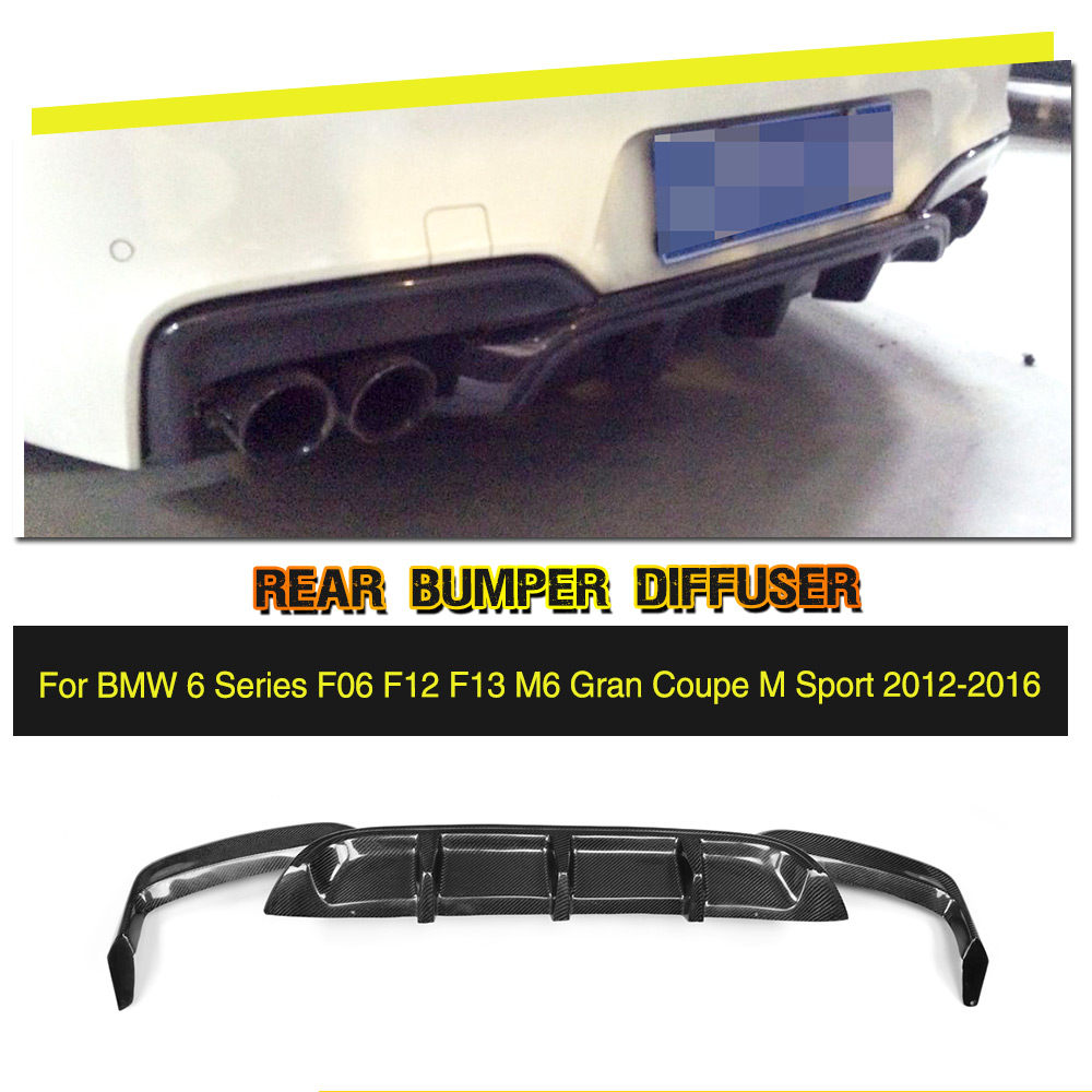 Carbon Fiber / Black FRP Rear Diffuser Bumper Gaurd Lip Spoiler for BMW 6 Series F06 F12 F13 M6 M tech M Sport 2012-2016 dual slats abs front grille for bmw m series f06 f12 f13 m6 2012 2013 2014 2015 on glossy black finish m look