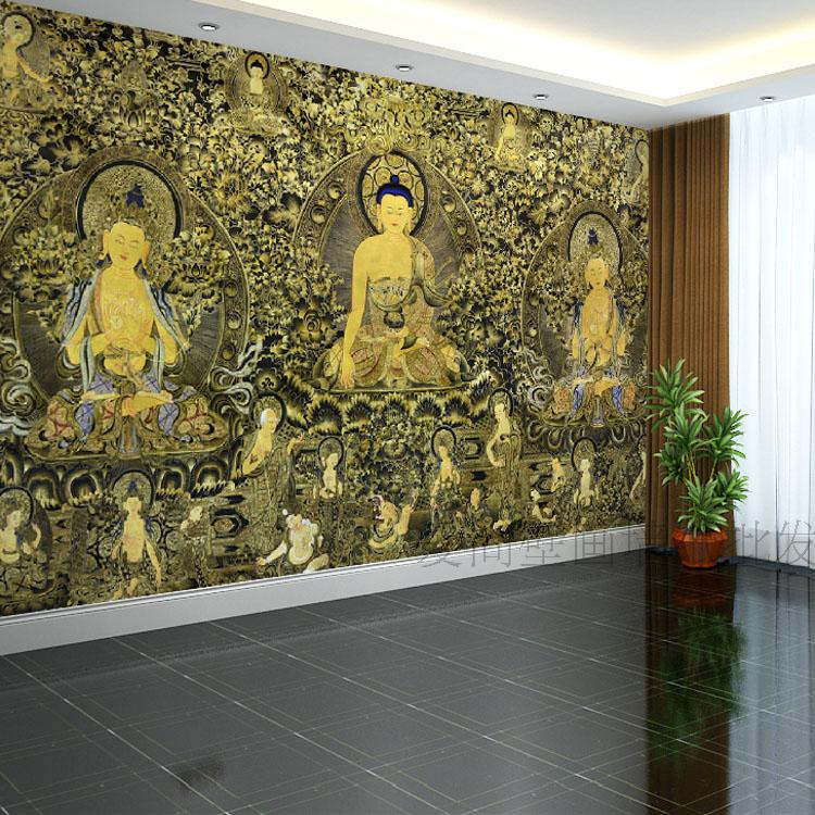 Online buy wholesale religious backdrops from china for Buddha mural wallpaper