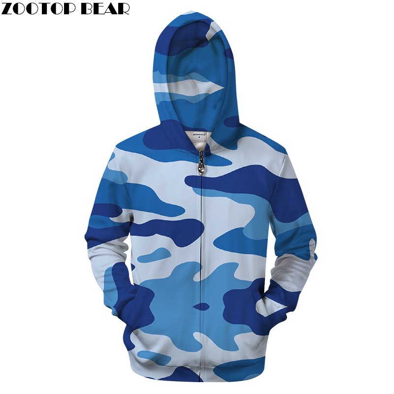 Blue 3D Zip Hoodie Camo Sweatshirts Zipper Tracksuit Streetwear Pullover Hoody Brand Coat Autumn Clothing Drop Ship