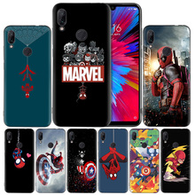 Marvel Iron Black Silicone Case Cover for Xiaomi Mi 9 8 Play A1 A2 Redmi Note 7 6 6A 5 Plus S2 GO Lite Pro Pocophone F1 Coque стоимость