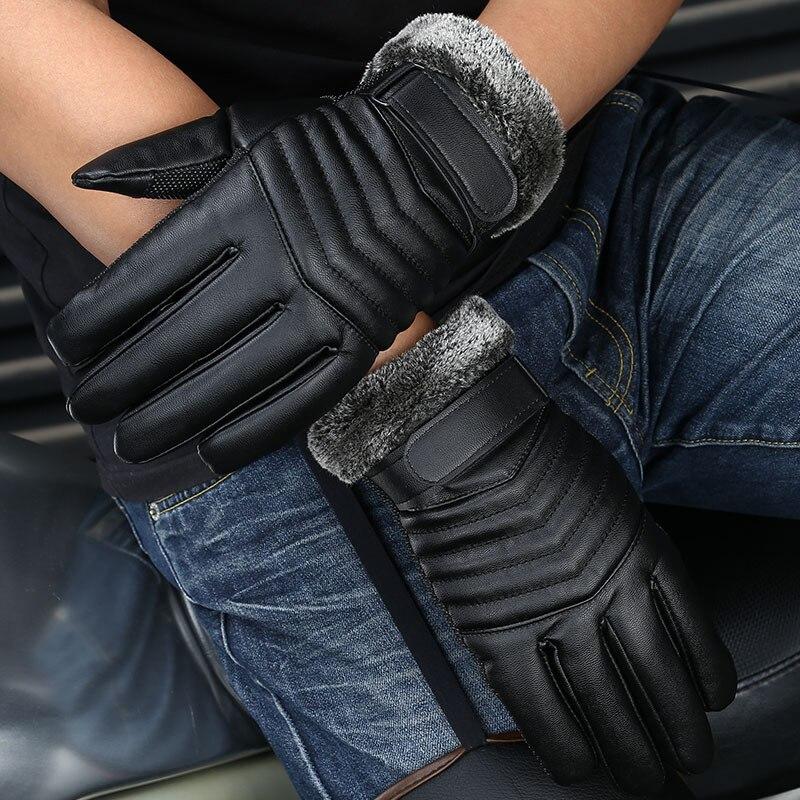 2017 men winter warm gloves windproof glove for men thickened pu leather warm waterproof glove. Black Bedroom Furniture Sets. Home Design Ideas
