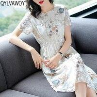 Винтажные вечерние летние платья 2019 Настоящее шелковое белое платье для женщин Корейское миди Цветочное платье элегантные женские платья
